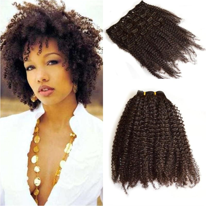 Malaysian Afro Kinky Curly Clip In Human Hair Extensions 120g Full Head Clip Ins For African American FDSHINE HAIR Black And White Hair Extensions Long