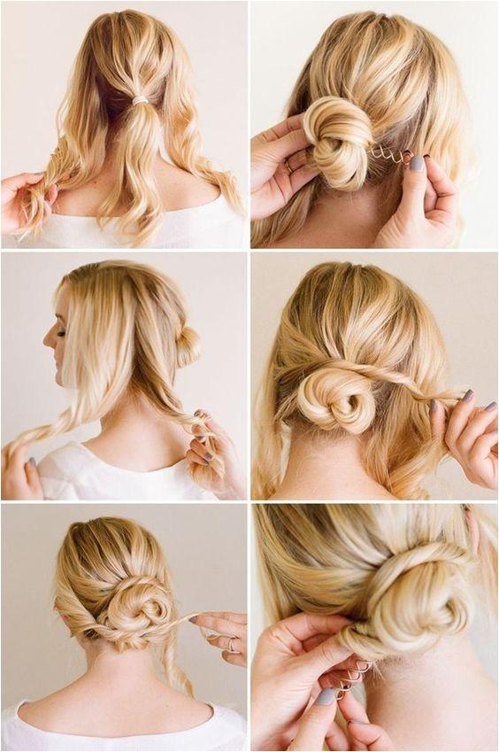 101 Cute & Easy Bun Hairstyles for Long Hair and Medium Hair corporate chic goldplaited