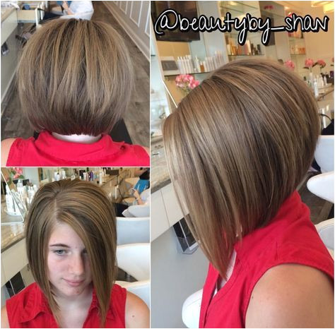 Stacked bob haircut with blond
