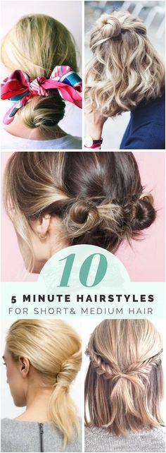 10 5 Minute Hairstyles For Short Hair & Medium Hair