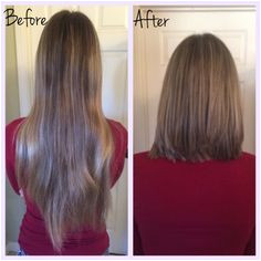 Before and after cutting my hair 13in Donated it to Children With Hair Loss in