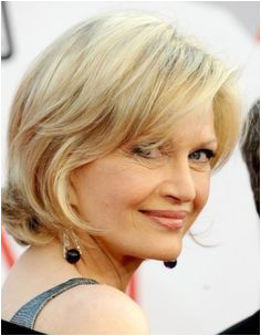 her flattering option for older woman is a chin length bob with added layers In case your hair is slightly curly it will give a cute flip at the edges