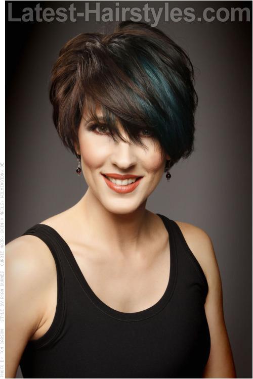 Peek A Boo Blue Short Asymmetric Hair Cut