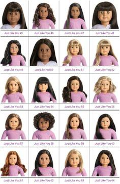 Visual Chart of Truly Me Dolls