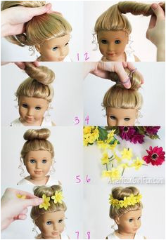 American Girl Doll Hairstyle Bun Flower Crown How pretty Can t