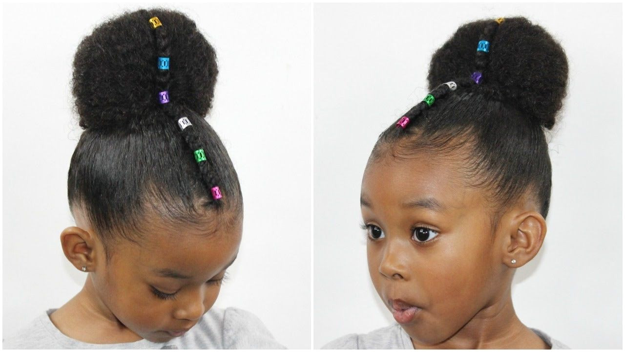 Rainbow Bun with Cornrow