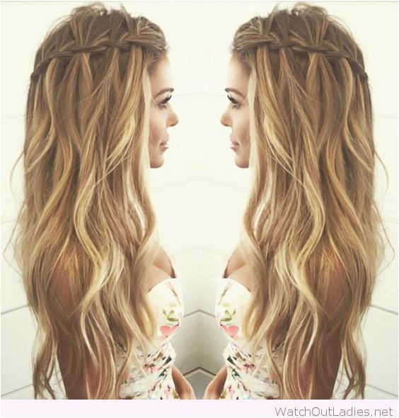 Cool waterfall braid for curly hair