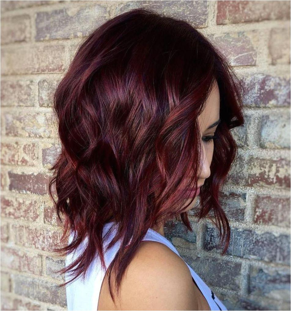 Wavy Layered Burgundy Lob Shoulder Length Hair Lob Plum Hair Burgundy Hair