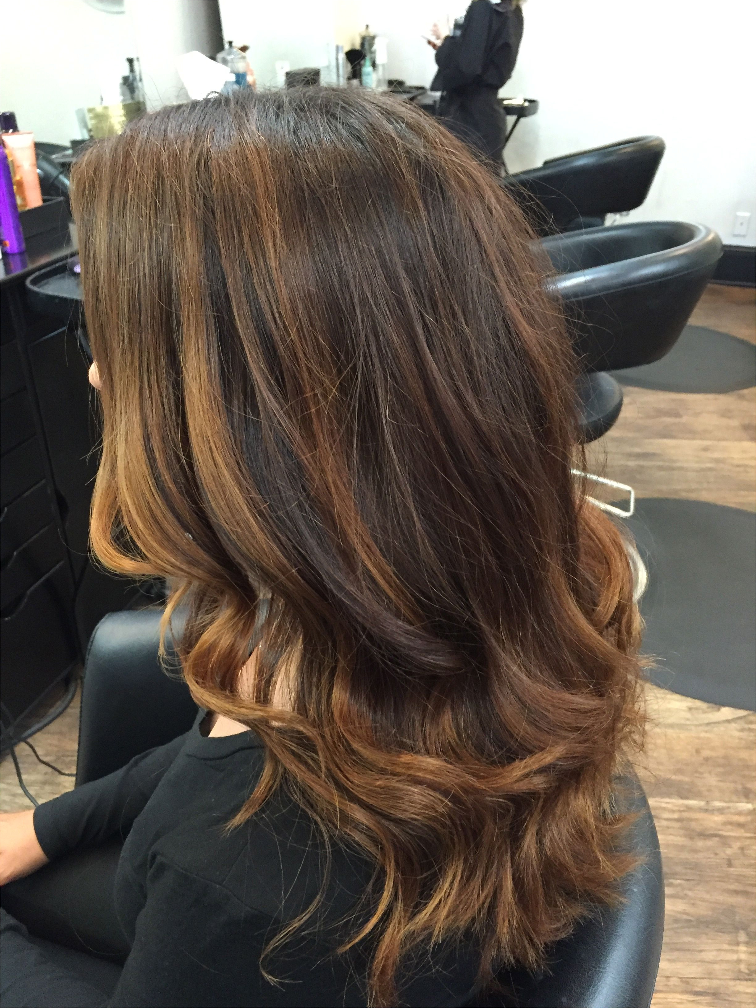 rich coppery chocolate brown natural base color with balayage highlights