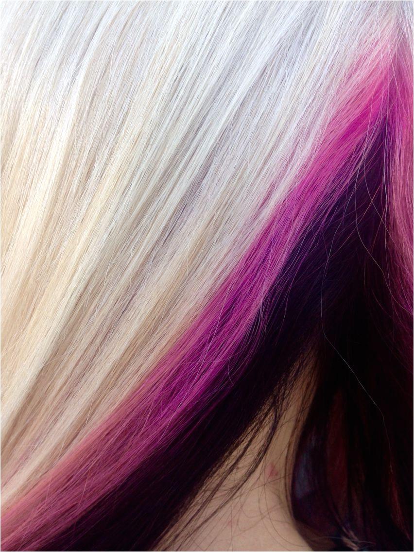 Close up Pink peek aboo highlights I love pravana Hair and makeup designs done by Jaidyn Perkins