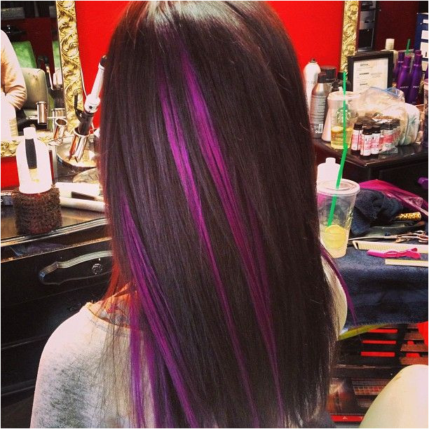 Purple Hair Highlights Pink Peekaboo Highlights
