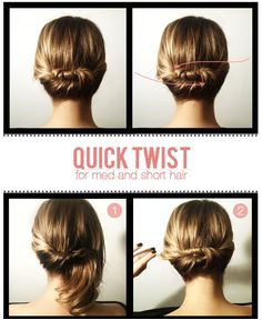bun for short hair so simple Quick Updo Easy Updo Easy Hairstyle