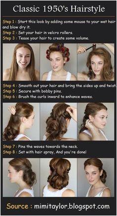 Fifties hair 1950s Hair Tutorial Vintage Updo Tutorial Vintage Hairstyles Tutorial Diy Wedding