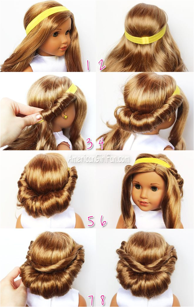 Wrapped Headband Updo American Girl Doll Hairstyle click through for tutorial