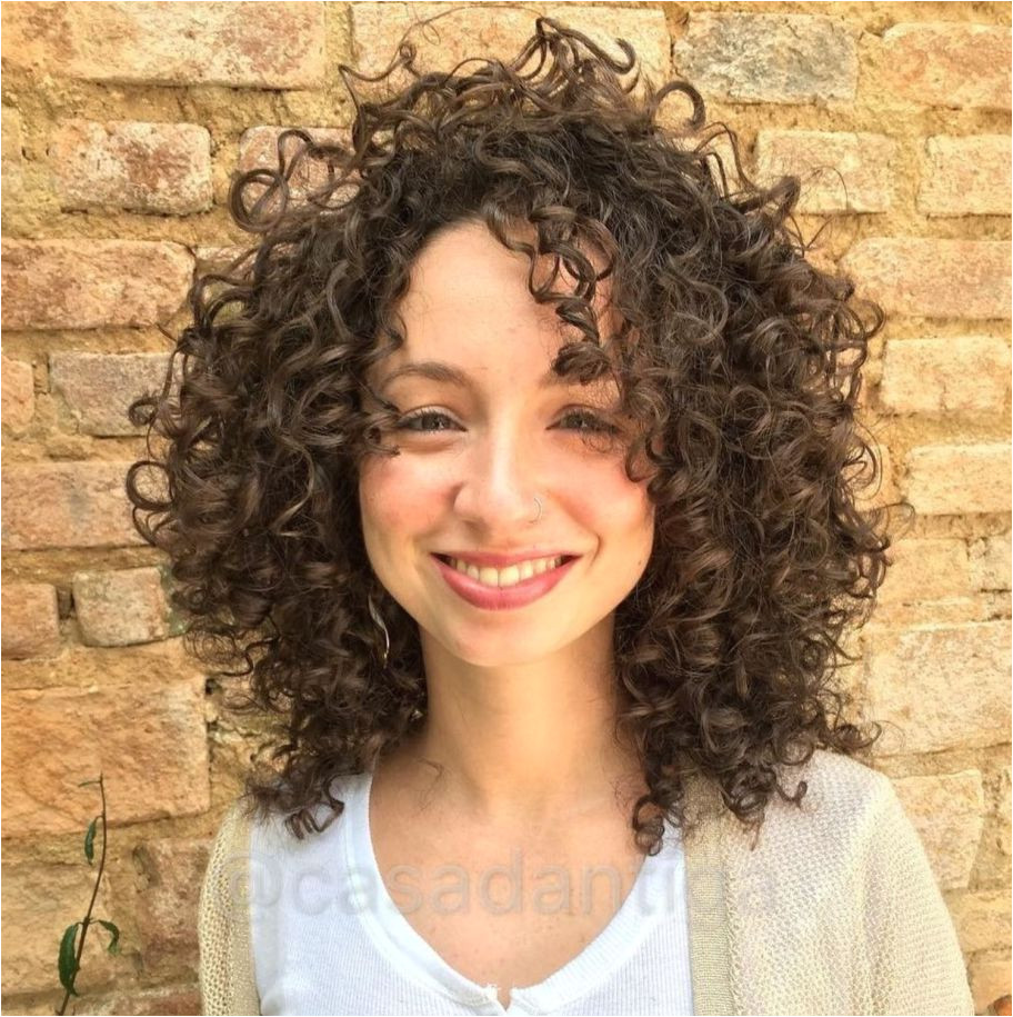 Shoulder Length Brown Curly Hairstyle