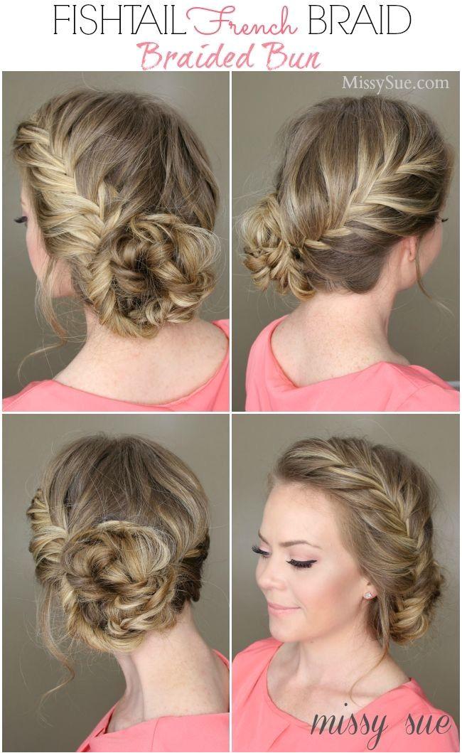 2014 DIY Fishtail French Draid Hair Bun Tutorial Blonde hairstyle bun id hair Party Hairstyles