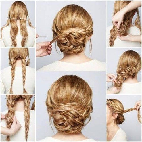 braided chignon tutorial long hair prom updo