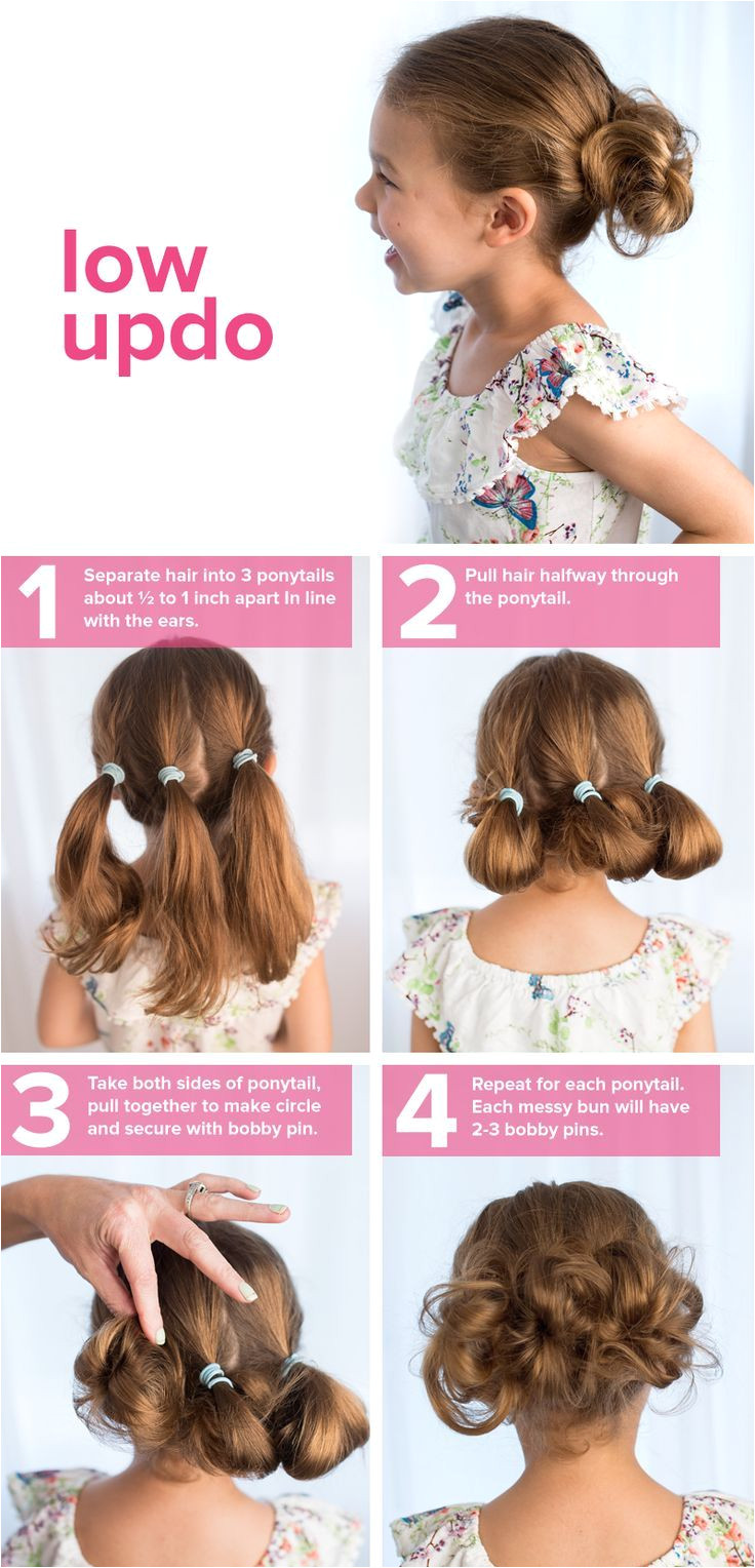 Follow this easy tutorial for a kid s hairstyle that s perfect for school This low updo can be created on long or short hair