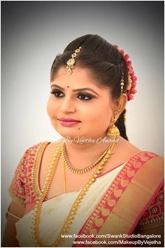 Our sweet and bubbly bride Bindu is all smiles after her makeover for her muhurtam