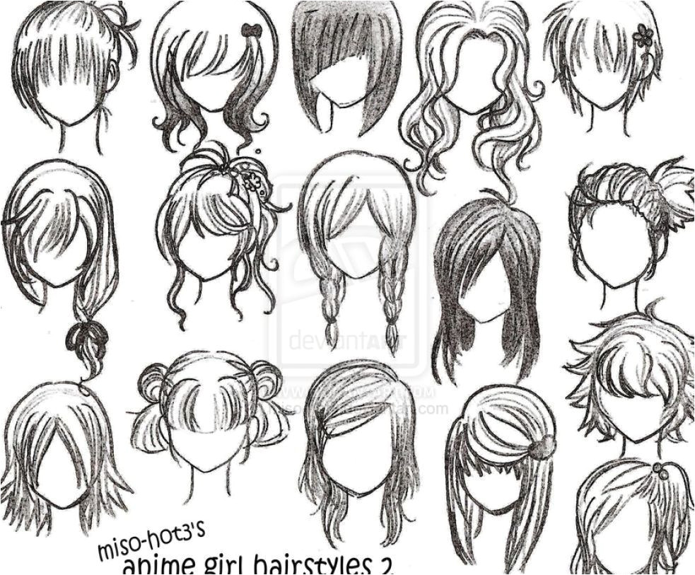 Image result for easy to draw anime girl hair