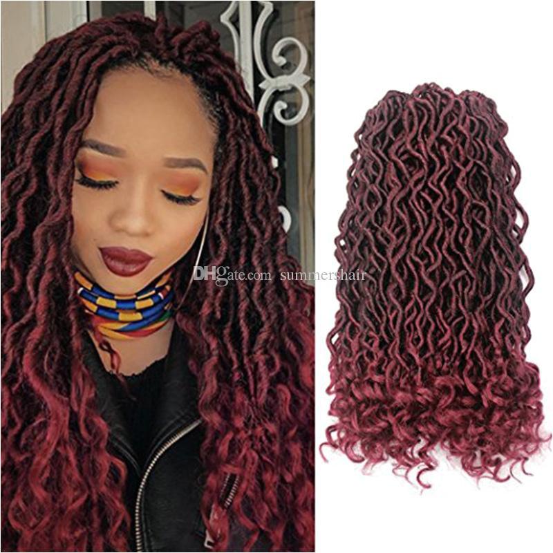 Großhandel Faux Locs Curly Crochet Hair 24Strands Pack Synthetische Dreadlocks Haarverlängerungen Ombre Kanekalon Crochet Braids 18inch Freestyle Hair Von