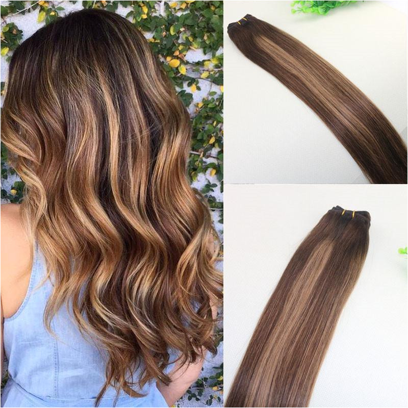 Human Hair Weave Ombre Dye Color Brazilian Virgin Hair Weft Bundle Extensions Two Tone 4 Brown To 27 Blonde Straight Human Hair Weave Human Hair Weave