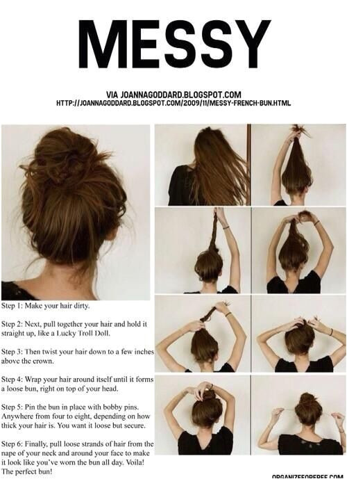 Messy bun i love how there is a tutorial for a freakin messy bun ke what hahaha whatevs