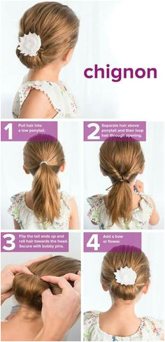 Try this hairstyle idea for school The post This chignon tutorial is so easy Try this hairstyle idea for school… Cute DIY Projects · Hairstyles for kids