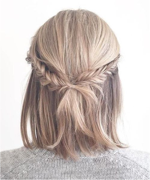 Back View of Beautiful Short Hairstyles 2018 with Little Cross Braids