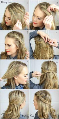 DIY French Braid Tie Back diy hair ideas diy ideas easy diy diy beauty diy hair diy fashion beauty diy diy style diy braid hairstyles diy hair style hair