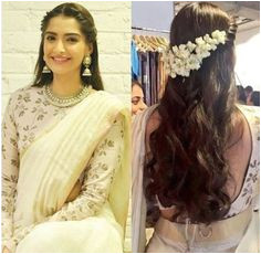 Side parted hairstyle with gajra Indian Hairstyles For Saree Bollywood Hairstyles Sonam Kapoor Hairstyles