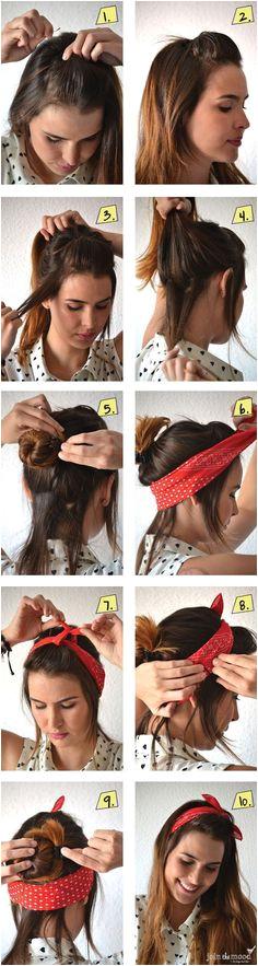 14 Tutorials for Bandana Hairstyles