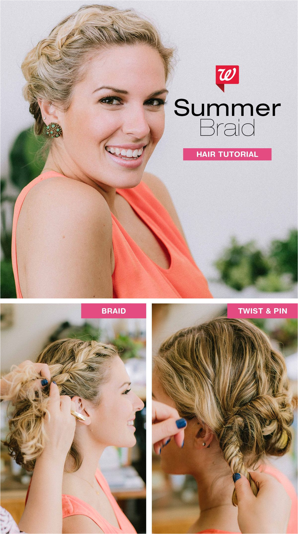 Style your hair in a no fuss easy summer do—perfect for short tresses First braid your hair tightly at the crown continuing to the back as far as your