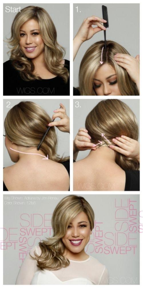 Side Swept Hair Tutorial Hairdtyles Pinterest