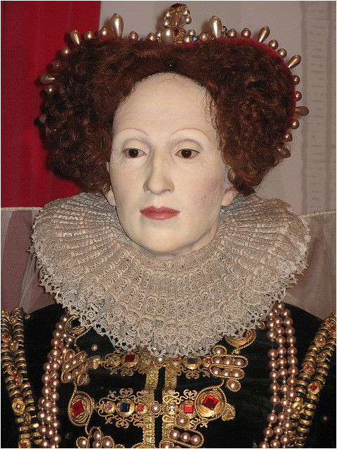 Queen Elizabeth I eyebrows severely plucked hairline plucked possibly powdered face