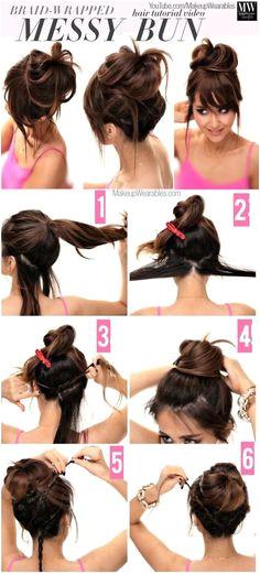 Braid Wrapped Messy Bun hair beauty long hair updo bun diy hair hair tutorial hairstyles tutorials hair tutorials medium hair easy hairstyles Hairstyles