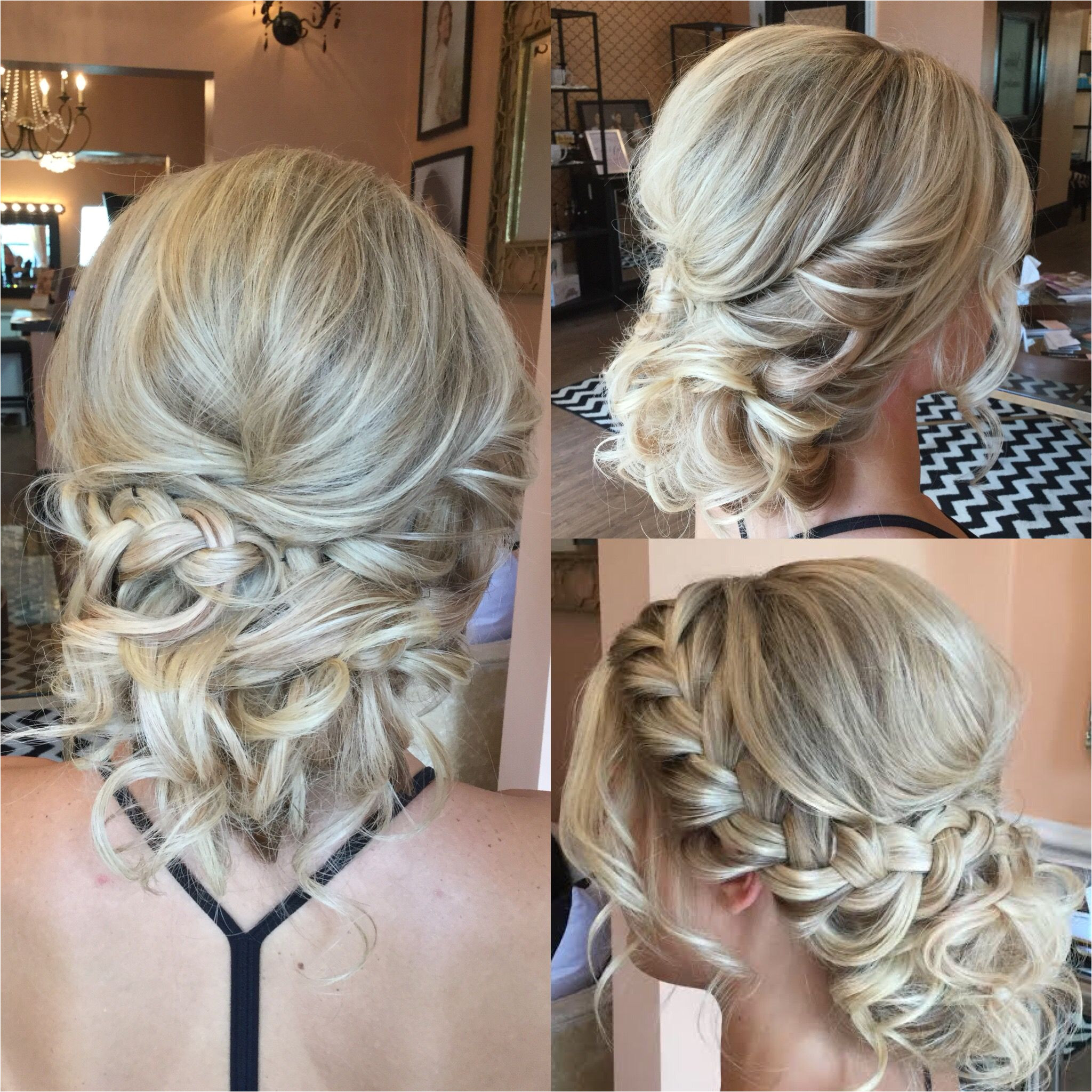 Textured up do for blondes with curls and side braid Bridal & formal hairstyle