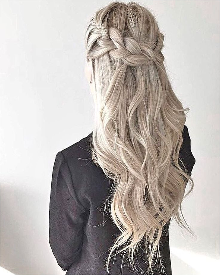 thick crown braid waves half up half down style