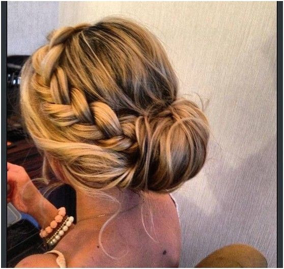Simple Bun Updos Pairs with Loose Braid Prom Hairstyle