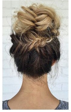 Blonde ombre fishtail braided updo bun hairstyle joanntupponceinc Braid Bun Updo Fishtail Bun
