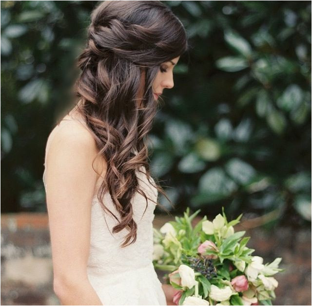 Love this wedding hair pulled back but interesting sides and curls down one side