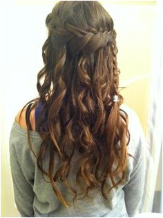 Amazing Long Brown Curly Braided Home ing and Prom Hairstyle Home ing Hairstyles 2014 Waterfall Braid With