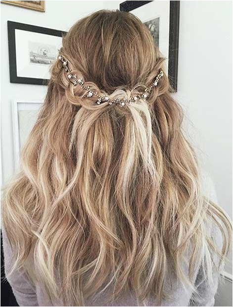 Romantic Half Updo with a Hairpiece Prom Hairstyles For Long Hair Curly Prom Hair