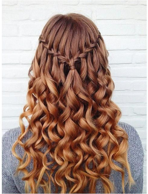 Grade 8 Grad Hairstyles Curly Simple Waterfall Braid & Curls Hair and Beauty Tutorials