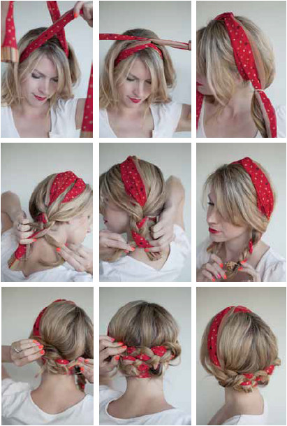 Scarf hairstyles for long hair clever for work Repinned