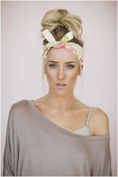 Dolly Bow Floral Tie Up Headscarf Headband Bandana Hair Accessory Boho Head Wrap Tie Bandana Headband in Yellow and Pink Peony HB 93