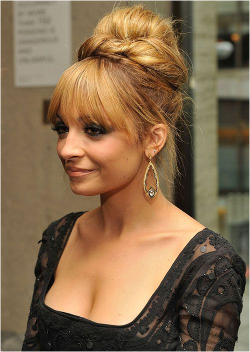 Formal Updos for Long Hair would probably put the bangs up though