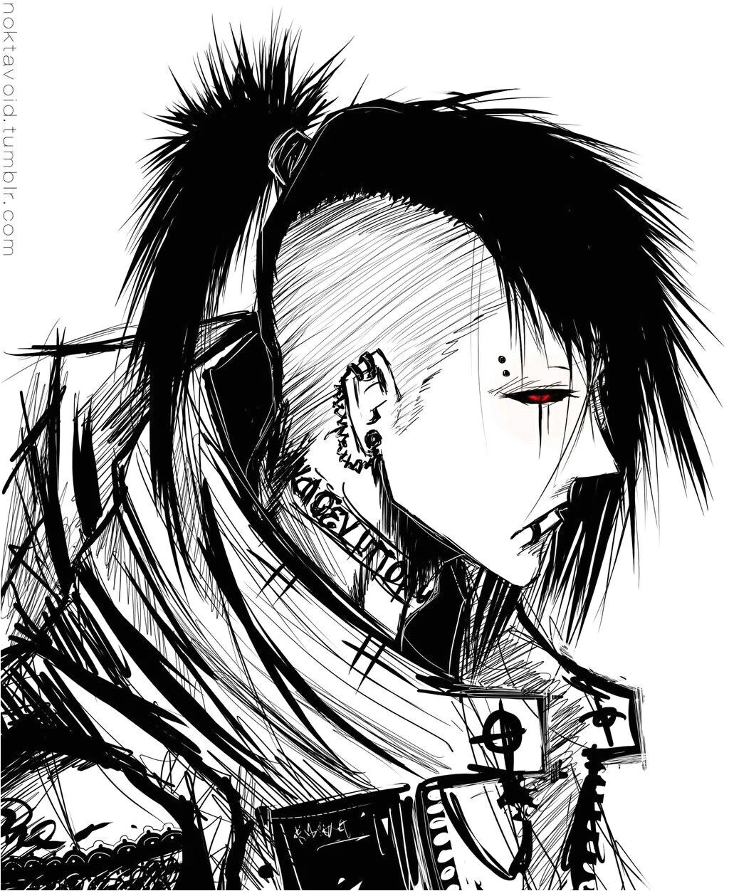 Uta with a more punk looking hairstyle