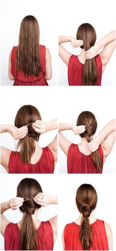 DIY Hair Tutorial A Fishtail Pony Braid with Gold Hoop Hair Accessory Decorative Hair Clips