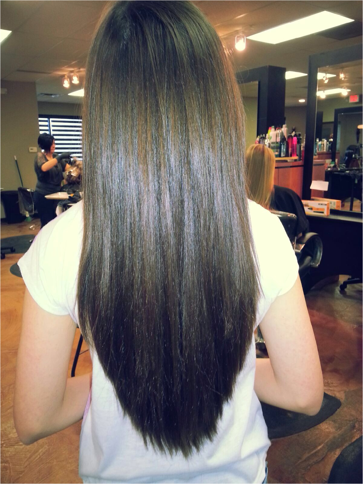 Long V haircut but with a few layers